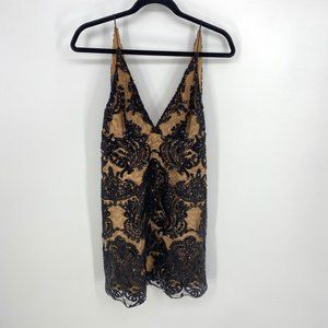 Free People Night Shimmers Black Mini Dress